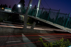 Padden Parkway Trail pedestrian overpass at night