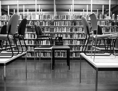 Vacances (BookMonger) Tags: bw holiday canada vacances novascotia chairs interior library books canadian tables halifax shelves readingroom dalhousie libslibs librariesandlibrarians