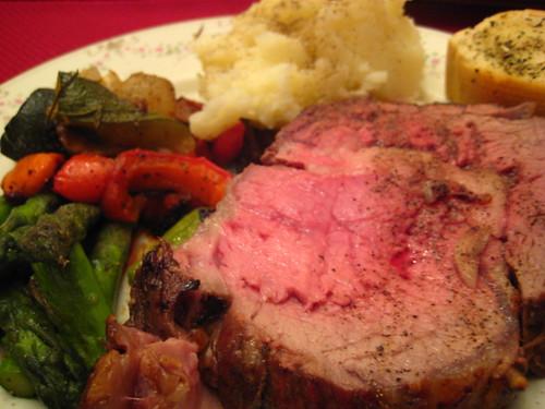 prime rib cauliflower soup christmas dinner plate