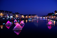 Strange Floating Pyramids (laverrue) Tags: christmas xmas reflection colors strange lights pyramid illuminations floating noel explore bluehour 53 pyramide laval mayenne heurebleue explored bestofr
