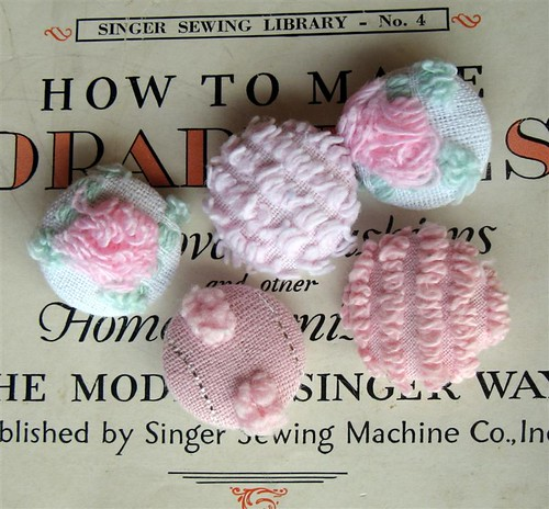 vintage chenille covered buttons