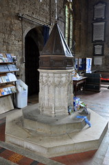 Bloxham 15th century font once painted red Jacobean cover DSC_0003_01-8 (bwthornton) Tags: travel art history tourism church walking churches stainedglass tourist steeple font guide stmary oxfordshire banbury webb williammorris wallpaintings bloxham burnejones churchcrawling morrisandco
