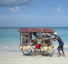 Varadero, Cuba - 12 (Feb. 2008) (Sparkling One) Tags: beach sailboat souvenirs sand waves cuba varadero pointshoot peddlars sonydscw80