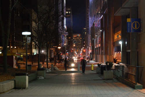 Ryerson walkway at night.