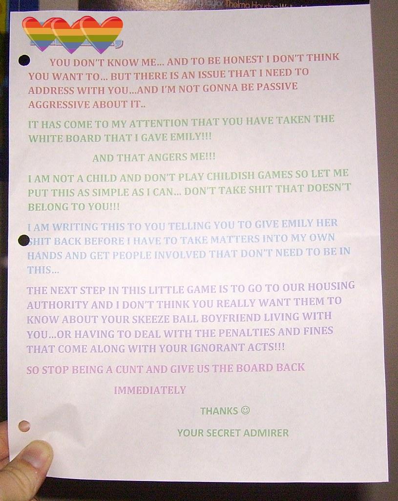 How to write a secret admirer note