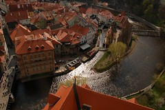 Cesky Krumlov view (halifaxlight) Tags: trees red castle river island town view rooftops bridges sunny czechrepublic ceskykrumlov shining smorgasbord mywinners abigfave theunforgettablepictures theperfectphotographer goldstaraward absolutelystunningscapes