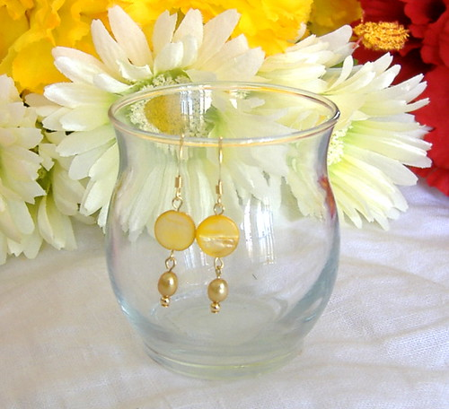 yellow mother of pearl coin and gold fresh water pearl earrings
