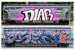 "*SOLD* ""DIAR""&SEA"" model train (SEAMO ONE) Tags: streetart art aka gallery framedart stickers paintings trains canvas urbanart lowbrow dtc artshows gba graffitiart seamo hoppers modeltrains freights kyt hoscale diar handmadeart sinik 2vk mostlytruetailsfromtherails handpaintedtrains"