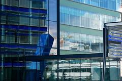 blue reflections (marcella bona) Tags: blue orange building architecture modern finland helsinki industrial finlandia