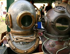 Diving helmets (Isabella Perry) Tags: england early hampshire winchestercathedral familyfunday divinghelmet