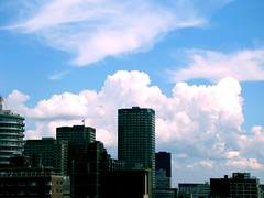 yumi clouds :p (M.LQtr) Tags: blue sky white canada clouds buildings montreal yumi