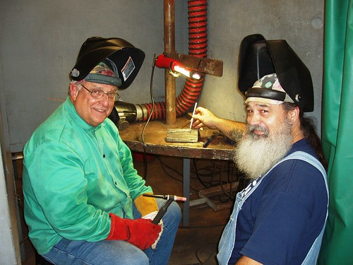 Judge J. Kent Adams (on left ) and Lucky Howe, LSC-North Harris Welding Instructor (on right)