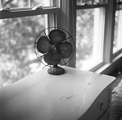 In the Bedroom (deatonstreet) Tags: windows bw 120 film mediumformat square fan antique interior automat twinlensreflex ilford100 flexaret meopta