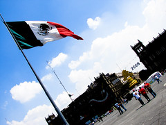 Mexican flag on the Zocalo