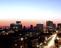 Richmond, Virginia Skyline at Night (Michael Letour) Tags: longexposure sunset skyline night canon lights evening virginia downtown cityscape time dusk richmond railwaystation va highrise vcu rva jamesriver eastmainstreet churchhill stareffect emainstreet 40d poespub libbyterrace therivercity libbyhillparkskyline richmondcityscape