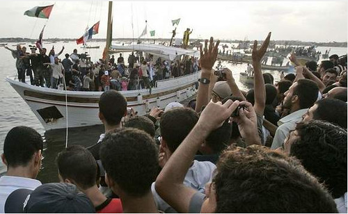 Waves of friendship in Gaza port by freegazaorg.