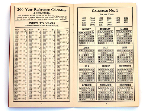 200 year calendar: inside page