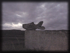 """Fish out of water (pho_kus) Tags: africa sculpture moon fish storm stone wall clouds bay wooden south plettenberg emilly blackwhitephotos """"isawyoufirst"""""""