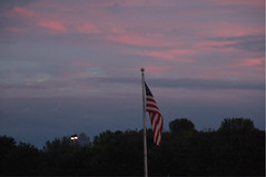 Skyline 1 (Poopshe_Bear) Tags: autumn sunset sky sun skyline clouds landscape flag horizon american americana treeline breathtaking olglory