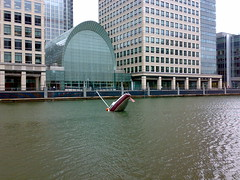Love-Love by Julien Berthier - Sinking boat at Canary Wharf
