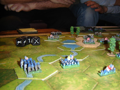 Union attack on left is repulsed, and Confederates cross river to turn flank
