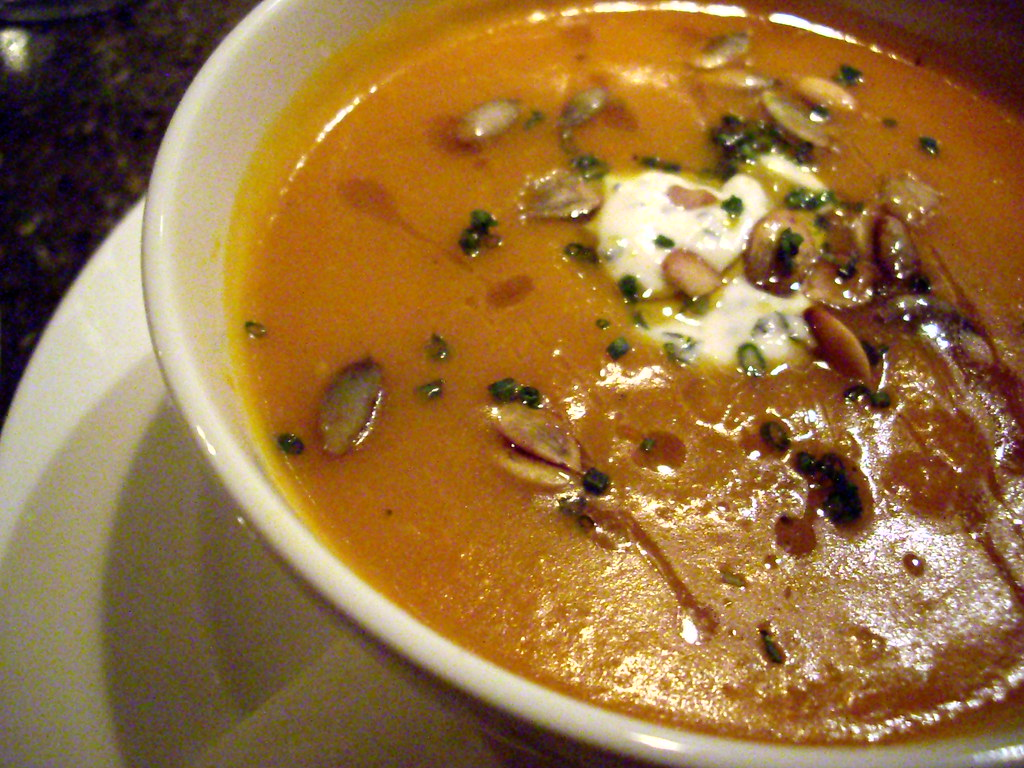 Curried Apple Squash Soup with Pumpkin Seeds and Maple Cream at Farm