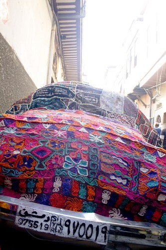 Car covered with carpets – Damascus