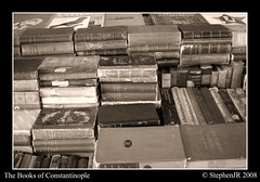 The Library of Constantinople (StephenJR) Tags: old blackandwhite bw sepia turkey book asia europe market middleeast istanbul 2008 constantinople