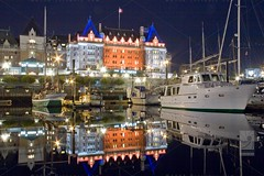 Inner Harbour by Night (Kinematic Digit) Tags: water reflections boats harbour britishcolumbia victoria inner vancouverisland nightshots theempresshotel supershot canoneos50d efs18200mmf3556is