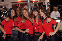 Pirelli Girls Posing (lincolnblues) Tags: girls red woman car pretty fuji expo lasvegas models babes finepix sema boothbabes carshow pirelli s3pro carmodels pirelligirls