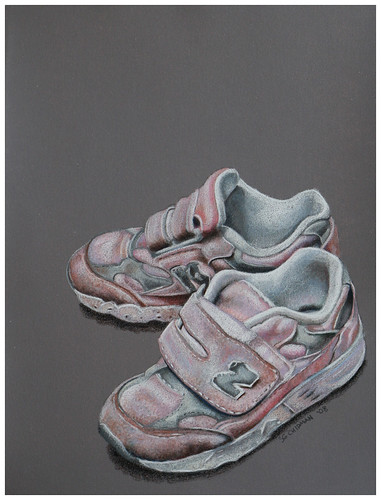 Colored pencil drawing of two pink children's sneakers.