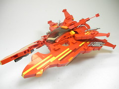 NoVVember: Vic Viper: Red-Bolt (Crimson Wolf) Tags: red orange yellow silver ship lego space scifi vic viper