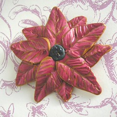 poinsettia polymer clay ornament