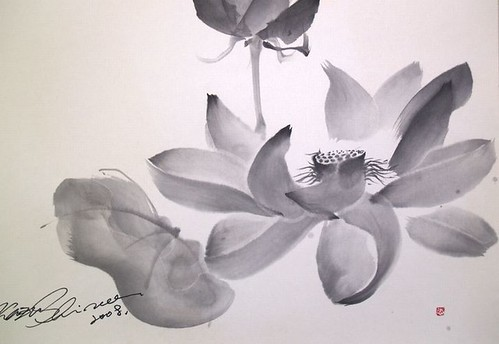 Sumie Lotus drawing