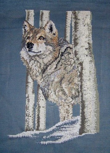 Wolf cross-stitch