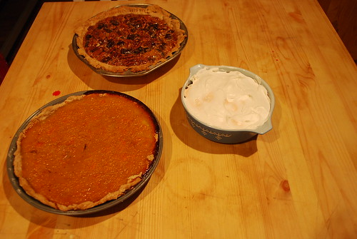 Sweet potato, pecan/date, and icebox pies