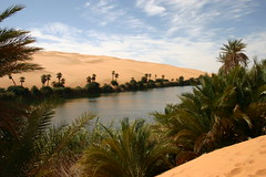 The most beautiful place in the world, Ubari Lakes, Libyan desert (Rakel Reds) Tags: africa sky panorama lake sahara water landscape lago sand desert palm acqua riflessi palme deserto sabbia erg libia fezzan ubari libyandesert awbari