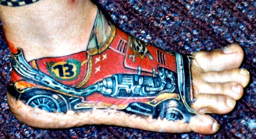 Right Foot Tattoo - Race Car 13