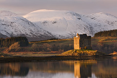Castle Stalker in Winter (David Kendal) Tags: reflections loch goldenhour appin castlestalker scottishhighlands portappin scottishlandscape kingairloch scottishscenery scottishmountains lochlaich scottishcastle vosplusbellesphotos scottishsnow