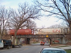 Canadian National freight train on the West Chicago Avenue viaduct. River Forest Illinois. December 2006.