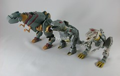 Transformers Grimlock Animated Voyager vs. G1 vs. Classic (by mdverde)