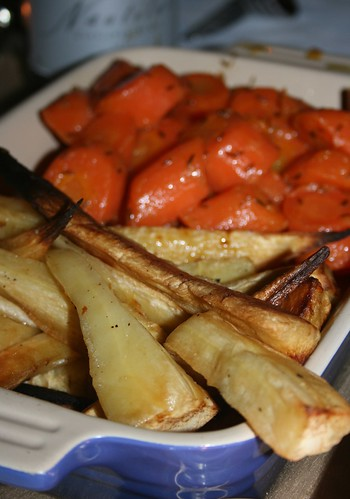 Roast parsnips and cumin buttered carrots
