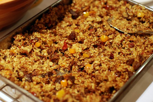 Biryani w/ dried fruit, almonds, bell pepper, and spice