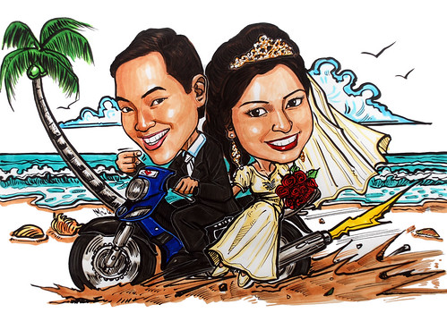 Malay couple caricatures weddiing on bike @ beach