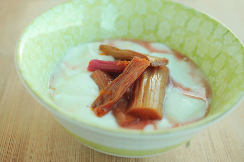 roasted rhubarb with vanilla and rose syrup
