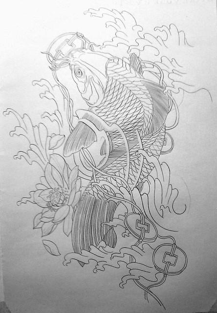 <紋身圖騰>櫻之鯉(素描+彩版完成)2011.06.12
