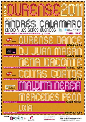 Ourense 2011 - Festas Maiores - cartel concertos