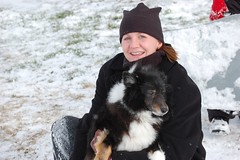 Me and my sweet dog Pate (BethLo) Tags: winter snow dogs outdoors march beth tennessee sheltie golfcourse sledding pate shetlandsheepdog d40