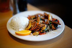 Thai Smile Mongolian Beef (disneymike) Tags: california food orange fruit lunch mushrooms restaurant nikon rice beef palmsprings meat thai carrots nikkor greenonions d3 friedricenoodles 50mmf14d orangeslice mongolianbeef thaismile