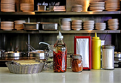Tools Of The Trade (FotoEdge) Tags: original usa classic cooking window kitchen colors silver lunch view counter memories bowl kansascity chrome american missouri napkins vinegar peppers kc nosmoking stools dixons stainless truman kcmo lunchbreak breaktime aroma toolsofthetrade dixonschili nationalhighway 40highway fotoedge bobtravaglione dixonsfamouschili